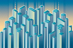 Skyscrapers. Isometric view of the blue skyscrapers Royalty Free Stock Image