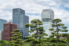 Skyscrapers and japanese garden in Tokyo Japan Royalty Free Stock Photography