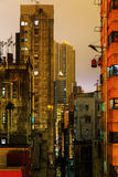 Skyscrapers in Kowloon, Hong Kong, at night Royalty Free Stock Photo