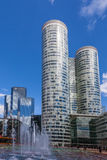 Skyscrapers in La Defense. La Defense, France- April 19th, 2012: Image of two central skyscrapers in La Defence, the main business district in western Paris. In Royalty Free Stock Photography