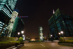 Skyscrapers of La Defense, Paris, France. Skyscrapers of La Defense -Modern business and residential area in the near suburbs of Paris, France. Night scenic Royalty Free Stock Images