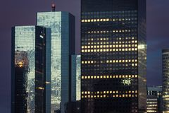 The skyscrapers of La Defense. Business district at night. Paris. France Royalty Free Stock Photos