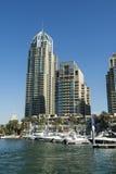 Skyscrapers and leisureboats Dubai Marina Stock Images