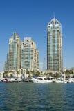 Skyscrapers and leisureboats Dubai Marina Royalty Free Stock Photo
