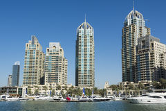 Skyscrapers and leisureboats Dubai Marina Royalty Free Stock Image