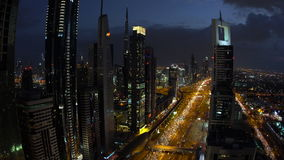 Skyscrapers lining Sheikh Zayed Road at dusk, Dubai stock video footage
