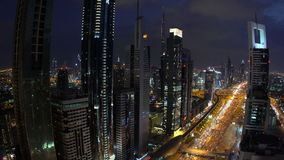 Skyscrapers lining Sheikh Zayed Road at dusk, stock footage
