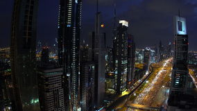 Skyscrapers lining Sheikh Zayed Road at dusk, stock video footage