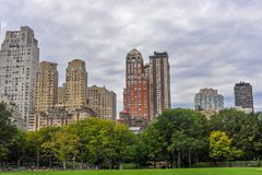 Skyscrapers, office buildings, Central Park,New York, USA royalty free stock photography