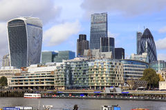 Skyscrapers in London. Skyscrapers of The City, London: The Gherkin, The Cheesegrater and Walkie-Talkie Stock Photo