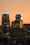 Skyscrapers in Los Angeles. Skyscrapers in downtown Los Angeles at dusk Stock Photo