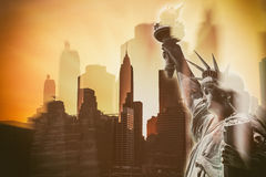 Skyscrapers of Lower Manhattan and the Statue of Liberty Royalty Free Stock Image