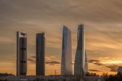 Skyscrapers in Madrid. The four skyscrapers in a business area in Madrid during de sunset Stock Image