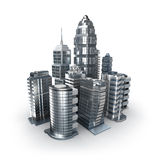 Skyscrapers and magistrals. Chrome city over white. 3d image vector illustration
