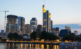 Frankfurt Skyline Reflection on Main River at Sunset Royalty Free Stock Photography