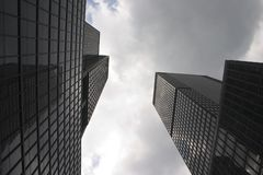 Skyscrapers in Manhattan (New York). Skyscrapers in New York against a cloudy sky Stock Image