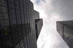 Skyscrapers in Manhattan (New York). Skyscrapers in New York against a cloudy sky Stock Images