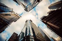 Skyscrapers in Manhattan, New York City. Skyscrapers in Manhattan, wide angle, New York City stock image
