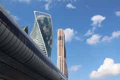 Skyscrapers Mercury and Evolution in the business center Moscow City and Bagration Bridge. Moscow City. Skyscrapers of the business center Stock Photography