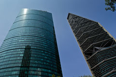 Skyscrapers at Mexico, city. MEXICO CITY,MEXICO-SEPTEMBER 14,2016: View from below of `Torre Mayor` and `Chapultepec uno` skyscrappers on a clear sunny day at Stock Images