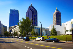 Skyscrapers in midtown. Atlanta, GA. Skyscrapers in midtown. Sunny street with cars. Nobody on the street. Atlanta, GA Royalty Free Stock Photos