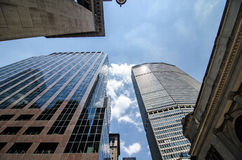 Skyscrapers in midtown Manhattan. Extreme Perspective of Skyscrapers and buildings in the midtown area of Manhattan outside of Grand Central Terminal Royalty Free Stock Photography