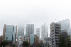 Skyscrapers in mist. Royalty Free Stock Image