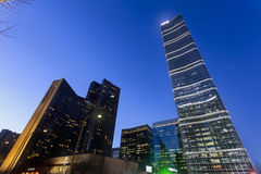 Skyscrapers and modern buildings at dusk in Chaoyang District, Beijing. Royalty Free Stock Photo