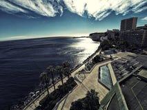 Skyscrapers in Monaco Monte-Carlo city riviera Drone summer photo stock photography