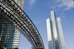 Skyscrapers and monorail. Skyscrapers and curving monorail tracks against blue sky at the new CityCenter development in Las Vegas stock images