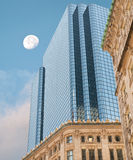 Skyscrapers and moon Royalty Free Stock Photography