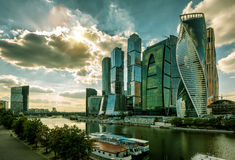 Skyscrapers of Moscow-Ð¡ity. MOSCOW - AUGUST 10, 2016: Skyscrapers of Moscow-Ð¡ity (Moscow International Business Center) over Moskva River. Moscow-city is a royalty free stock photo