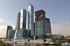 Skyscrapers in Moscow. View at skyscrapers of Moscow business center on a sunny day Stock Photos