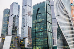Skyscrapers of Moscow city business center. Skyscrapers of Moscow city business center in evening Royalty Free Stock Images