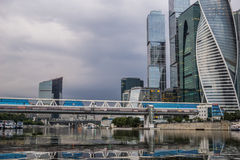 Skyscrapers of Moscow city business center. Skyscrapers of Moscow city business center in evening Stock Photo