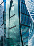 Skyscrapers of Moscow city business center. MOSCOW. RUSSIA - JUNE 5, 2015: Skyscrapers of the Moscow city business center close-up. Moscow International Business Royalty Free Stock Photography