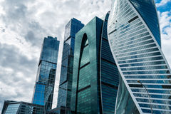 Skyscrapers of Moscow city business center. MOSCOW. RUSSIA - JUNE 5, 2015: Skyscrapers of the Moscow city business center close-up. Moscow International Business Stock Photos