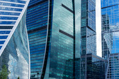 Skyscrapers of Moscow city business center. MOSCOW. RUSSIA - JUNE 5, 2015: Skyscrapers of the Moscow city business center close-up. Moscow International Business Royalty Free Stock Images