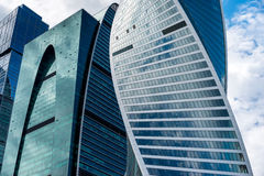Skyscrapers of Moscow city business center. MOSCOW. RUSSIA - JUNE 5, 2015: Skyscrapers of the Moscow city business center close-up. Moscow International Business Stock Photo