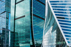 Skyscrapers of Moscow city business center. MOSCOW. RUSSIA - JUNE 5, 2015: Skyscrapers of Moscow city business center closeup. Moscow International Business Royalty Free Stock Photo