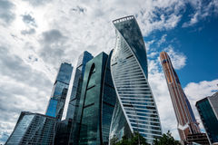 Skyscrapers of Moscow city business center. MOSCOW. RUSSIA - JUNE 5, 2015: Skyscrapers of Moscow city business center closeup. Moscow International Business Royalty Free Stock Photos