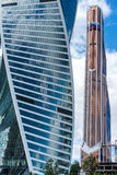 Skyscrapers of Moscow city business center. MOSCOW. RUSSIA - JUNE 5, 2015: Skyscrapers of Moscow city business center closeup. Moscow International Business Stock Images
