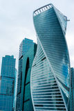 Skyscrapers of Moscow city business center. MOSCOW. RUSSIA - JUNE 5, 2015: Skyscrapers of Moscow city business center closeup. Moscow International Business Stock Photography