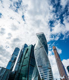 Skyscrapers of Moscow city business center. MOSCOW. RUSSIA - JUNE 5, 2015: Skyscrapers of Moscow city business center closeup. Moscow International Business Stock Photo