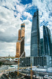 Skyscrapers of Moscow city business center. MOSCOW. RUSSIA - JUNE 5, 2015: Skyscrapers of Moscow city business center closeup. Moscow International Business Stock Photos