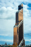 Skyscrapers of Moscow city business center. MOSCOW. RUSSIA - JUNE 5, 2015: Skyscrapers of Moscow city business center closeup. Moscow International Business Royalty Free Stock Image