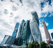 Skyscrapers of Moscow city business center. MOSCOW. RUSSIA - JUNE 5, 2015: Skyscrapers of Moscow city business center closeup. Moscow International Business Royalty Free Stock Images