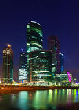 Skyscrapers of Moscow city business center  in summer night Stock Photography