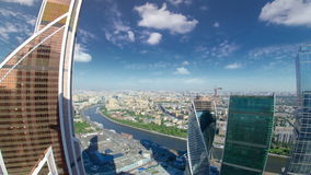 Skyscrapers of Moscow City business complex and. River timelapse. from top. Moscow International Business Center Moscow City includes 20 futuristic buildings stock video footage