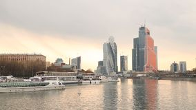 Skyscrapers Moscow city center spring timelapse stock video footage